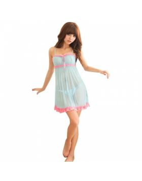 Sky Blue Nightgown Lace Sleepwear Lingerie Babydoll