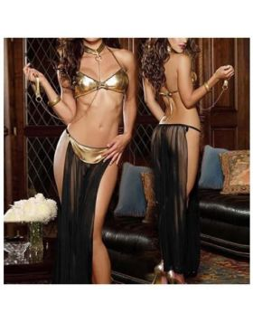 Black Arabic Long Veil Pole Dance Lingerie Set