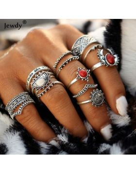 14pcs Vintage Silver Color Midi Female Ring Sets