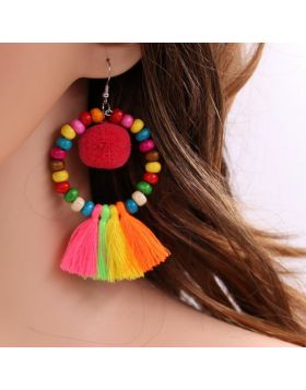 Pompom Colorful Wooden Beads Earring Jewelry