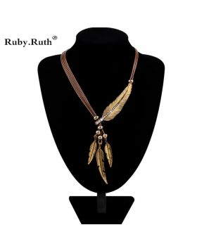 Feather Statement Necklaces Pendants Jewelry