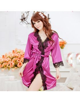 Women Purple Satin Lace Nightdress Nightie Nightgown-Purple