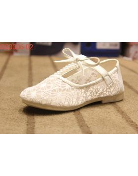 Girls White Beaded Shoes