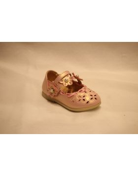 Baby Girl Pink Flower Bead Shoes