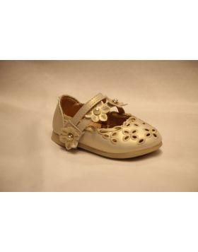 Baby Girl Light Golden Flower Bead Shoes