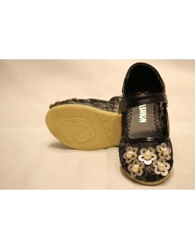 Girls Black Bead Flower Shoes