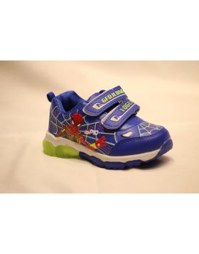 Boys Spiderman Light Blue Shoes With Lights