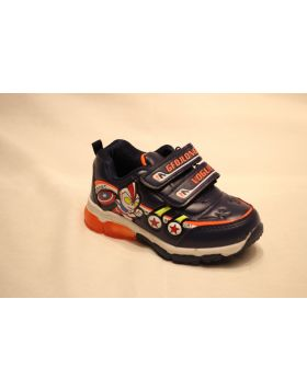 Boys Captain America Dark Blue Shoes With Lights
