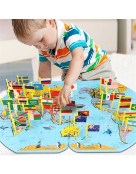 Wooden World Map For Kids Learning