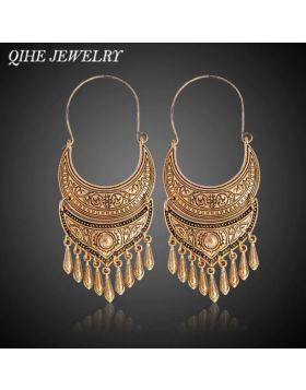 QIHE Gold Color Tibetan Earring